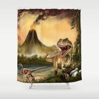 predator Shower Curtains featuring Predator Dinosaurs by FantasyArtDesigns