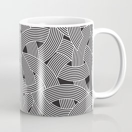 Modern Scandinavian B&W Black and White Curve Graphic Memphis Milan Inspired Coffee Mug