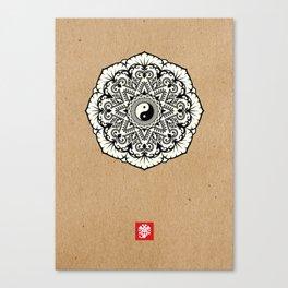 Taoist Mandala Black and White Kraft Canvas Print