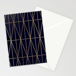 Modern gold geometric triangles pattern navy blue watercolor Stationery Cards