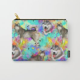 Husky Brightly Colored and Paint Splattered Carry-All Pouch