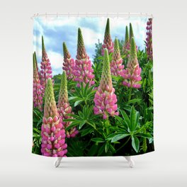 Rose Lupins in the Garden Shower Curtain