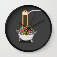 pasta Wall Clocks featuring Rainbow Pasta by Yislamoo