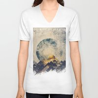 silhouette V-neck T-shirts featuring One mountain at a time by HappyMelvin