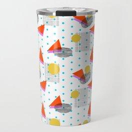 Bounce - abstract minimal retro throwback 1980s grid circle shapes memphis design pattern print art Travel Mug