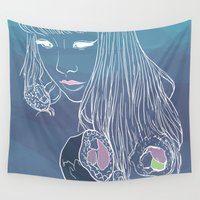 sushi Wall Tapestries featuring SUSHI by beerreeme