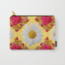 PINK ROSE & WHITE DAISIES YELLOW GARDEN ART Carry-All Pouch