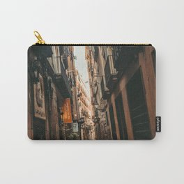 Barcelona Alley | Tilted Alleyway Streets in the City High Buildings Charming Moody Architecture  Carry-All Pouch