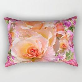 PINK-YELLOW ANTIQUE ROSES VIGNETTE Rectangular Pillow
