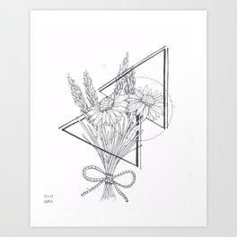 Daisies and Lavender Art Print