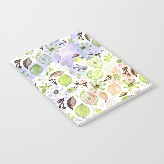Lemons and flowers- floral Summer pattern on #Society6 Notebook