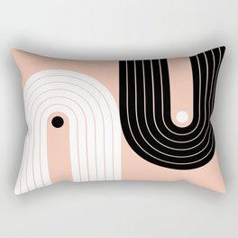 Abstraction_BLACK_WHITE_LINE_POP_ART_Minimalism_017W Rectangular Pillow