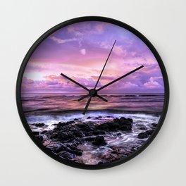 Purple Sunrise, Poipu Beach, Kauai, Hawaii Wall Clock
