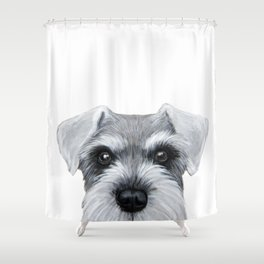 Schnauzer Grey&white, Dog illustration original painting print Shower Curtain