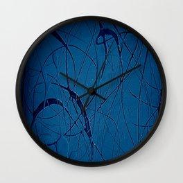 Navy Blue - Jackson Pollock Style - Modern Wall Clock