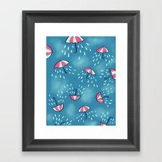 Raining Umbrella Pattern Framed Art Print