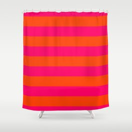 Bright Neon Pink and Orange Horizontal Cabana Tent Stripes Shower Curtain