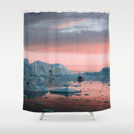 Boat in front of arctic icebergs during sunset Shower Curtain