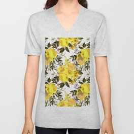 Yellow brown green watercolor hand painted roses Unisex V-Neck