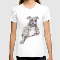 pit bull T-shirts featuring Pit Bull Portrait in Charcoal by M.M. Anderson Designs