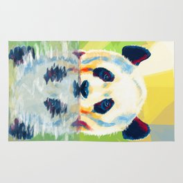 Panda taking a bath Rug