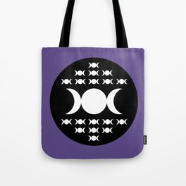 Triple Moon Goddess - White, Black and Ultra Violet Tote Bag