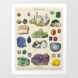 Minerals Crystals Gems Precious Stones Vintage Scientific Illustration Encyclopedia Labeled Diagrams Art Print