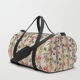 Wild Flowers on Stripes Duffle Bag