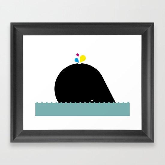 CMYK Whale Framed Art Print