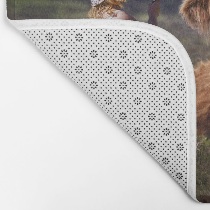 Young Child with Cow Bath Mat