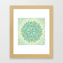 White cyan and yellow Beautiful Wedding Mandala Framed Art Print
