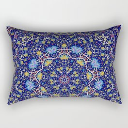 Nine sided ornament in blue with swirly things and such Rectangular Pillow