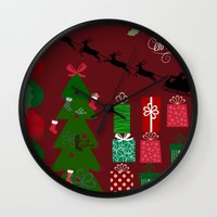 xmas Wall Clocks featuring Xmas by JuniqueStudio