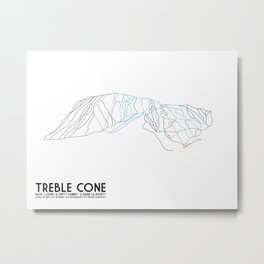 Treble Cone, Wanaka NZ - Minimalist Trail Art Metal Print