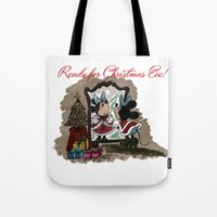 minnie Tote Bags featuring Minnie Mouses by carotoki art and love