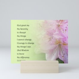 Serenity Prayer Pink Rhododendrons Mini Art Print