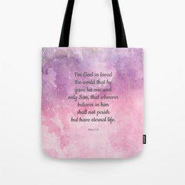 John 3:16, For God So Loved the World Scripture Tote Bag