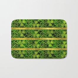 Irish Shamrock -Clover Gold and Green pattern Bath Mat