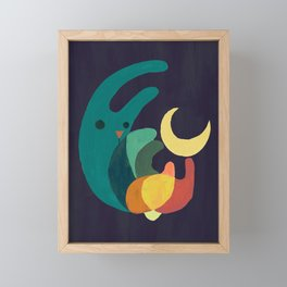 Rabbit and crescent moon Framed Mini Art Print