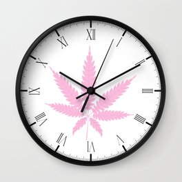Pink Cannabis Leaf Wall Clock