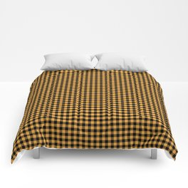 Bright Chalky Pastel Orange and Black Buffalo Check Comforters