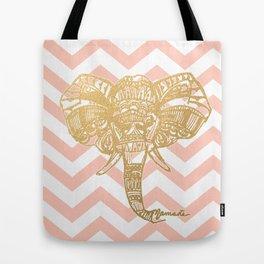 golden elephant & chevron Tote Bag