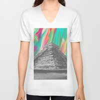 aztec V-neck T-shirts featuring Aztec by Cale potts Art