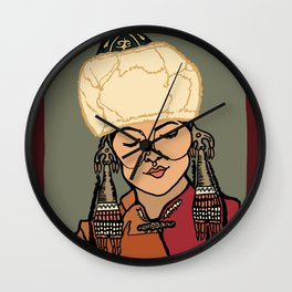 Turkic Woman in Traditional Hat Wall Clock