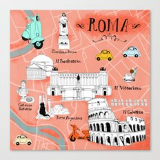 Roma! Map of Rome Canvas Print