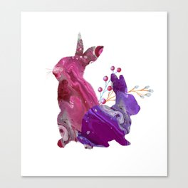 Easter Bunny Fluid Marble Acrylic Art Spring Purple Pink Rabbit Canvas Print