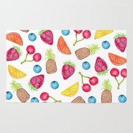 Juicy Watercolor Hand Painted Fruit Pattern Rug