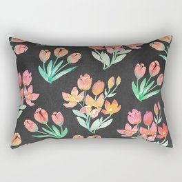 Modern Black Orange Red Tulips Floral Watercolor Rectangular Pillow