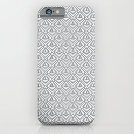 Grey Concentric Circle Pattern iPhone Case