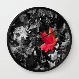 Singled Out Red Maple Leaf Wall Clock